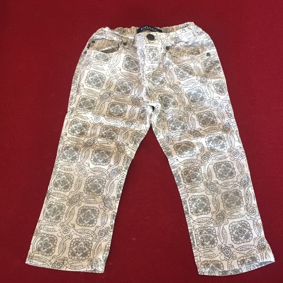 Vigoss Other - Vigoss White With Black & Light Blue pattern pants